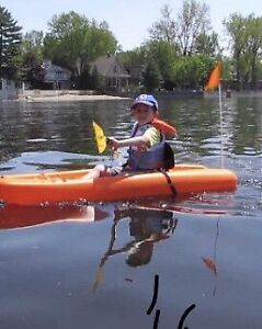 Pelican Solo Kids Kayak -Flag, High-back Seat, Paddle Included