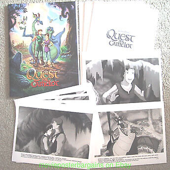 QUEST FOR CAMELOT PRESS KIT  7 STILLS MOVIE POSTER ART ON COVER