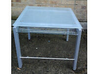 Square glass/grey metal coffee table