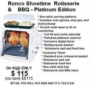 Chicken Turkey Rotisserie Roaster Cooker Ovens Showtime & BBQ Platinum Edition Ronco Showtime