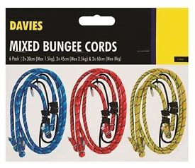 6 PACK ASSORTED BUNGEE CORDS CAR TRAVEL BIKE LEISURE LUGGAGE BRAND NEW