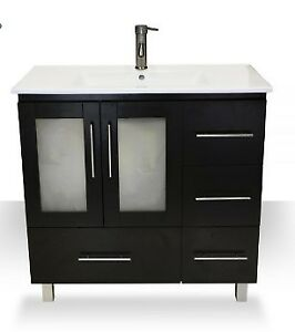36″ VANITY ESPRESSO WITH PORCELAIN TOP, BRAND NEW IN THE BOX