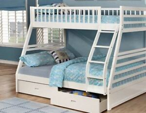 SOLID WOOD TWIN OVER DOUBLE BUNK BED WITH DRAWERS ON SALE!