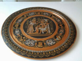 """Vintage Large Round Copper Egyptian Etched Wall Hanging Tray 19""""(49cm)."""