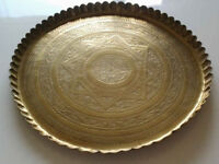 "Large Solid Brass Round Inscribed Tray 17""(43cm)"