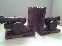 Vintage Carved Wooden Cannon Bookends (2)