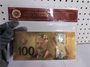 NEW REPLICA 24K GOLD FOIL CDN BILL   24KT GOIL FOIL CANADIAN REP