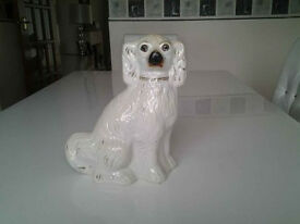 Vintage Wally Dog. White/Gilt With Glass Eyes.