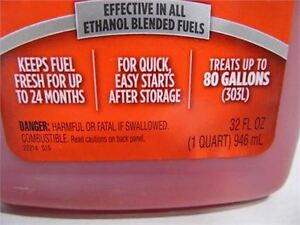 STA-BIL FUEL STABILIZER 32 Fluid Oz. Kitchener / Waterloo Kitchener Area image 2