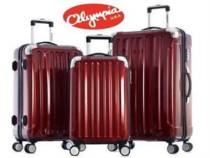 NEW* OLYMPIA 3PC LUGGAGE SET WHISTLER - BURGUNDY SUITCASE TRAVEL GEAR BAG 78212253