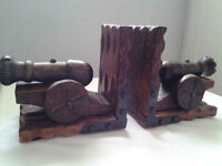 Vintage Carved Wooden Cannon Bookends (2).