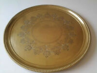 "Large Solid Brass Round Inscribed Tray 18""(46cm)."