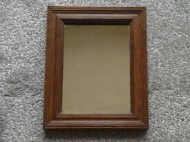 Small Vintage Solid Wood Frame Hanging Mirror (Heavy).