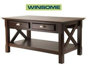 """NEW* WINSOME WOOD XOLA COFFEE TABLE 37""""W X 21.02""""D X 18.03""""H - CAPPUCCINO 109426453"""