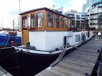 Houseboat on transferable residential mooring. London Docklands