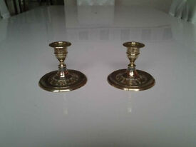 Vintage Solid Brass Candlestick Holders (2) Etched/Red and Green Enamel.