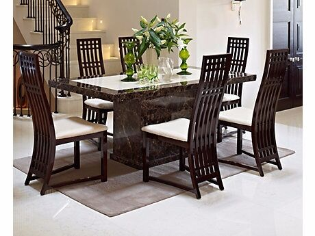 Harveys Patra Marble Dining Table And 6 Chairs, Sideboard And Coffee Table