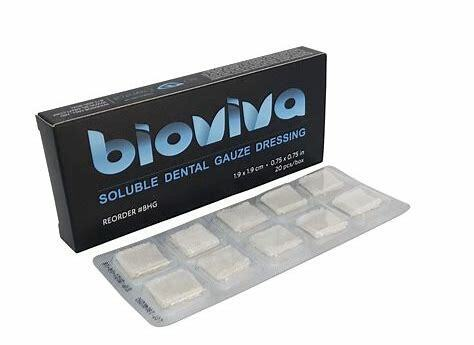 3D DENTAL BIOVIVA TOPICAL HEMOSTATIC GAUZE DRESSING, 20/BOX