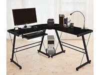 Black Glass Corner Desk
