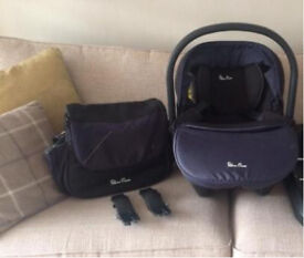 Vintage Blue Silver Cross car seat and matching changing bag