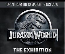 Jurassic World Exhibit Melbourne x 2 (21/5) Hornsby Hornsby Area Preview