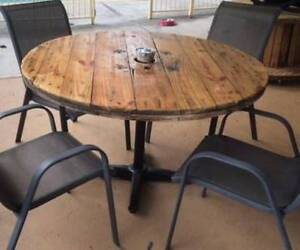 Rustic Cable Reel top on Metal legs- Outside Dinning table-Garden Mardi Wyong Area Preview
