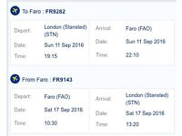 2x Return tickets London Stansted (STN) to Faro, Portugal (FAO)