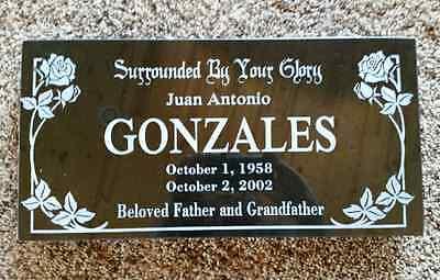 "Custom Memorial Headstone - 16""x10""x2"" Black Granite to Your Specs"