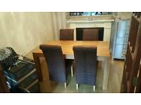 Solid beech wooden dining room table + 4 suede fabric chairs like new!