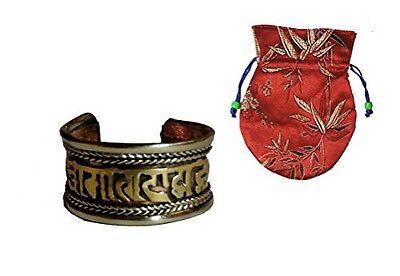 Hands Of Tibet Tibetan Medicine Ring w/ Om Mani Padme Hum Mantra ~ Three Metals