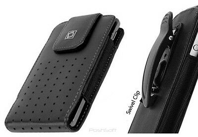 Leather Holster Case Pouch for Apple iPod Touch 6th+5th Gens. w/Swivel Belt-Clip Case Pouch Holster