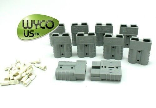 10 ANDERSON CONNECTORS W/ 6 GAUGE CONTACTS, SMALL GRAY, SB50A 600V, SCRUBBERS