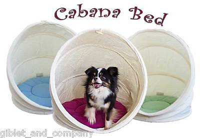 LARGE Blue/Ivory CABANA PET BED Collapsible Washable Tent Cave Cat Dog Bed