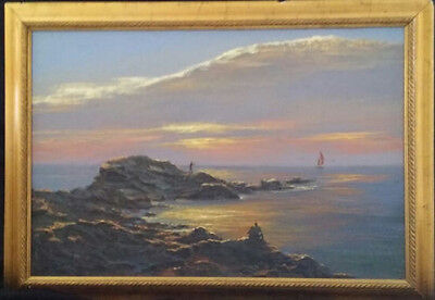 "Ron Raymer ""Red Sails in Sunset"" Framed ORIGINAL Acrylic Signed-$1000 MY COST!"