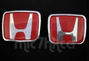 2x Red Type-R style Honda badge emblem 65x55mm & 74x62mm (SHIP FREE WORLDWIDE)