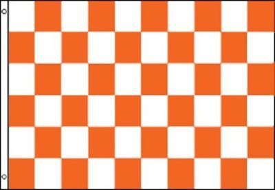 Orange and White Checkered Flag Advertising Banner Store Sign Party Pennant 3x5 - Checkered Flag Pennant Banner