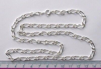 """5 x 24"""" silver plated complete figaro necklace chains"""