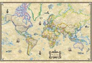 Large World Map EBay - Large vintage world map