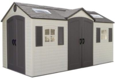 Lifetime Garden Shed 60079 8 x 15 ft Dual Entry Plastic Storage Shed 2 (Entry Shed)