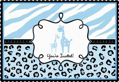 SWEET SAFARI BOY INVITATIONS (20) ~ Baby Shower Party Supplies Stationery Blue ()