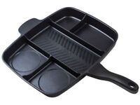 Non Stick Multi-Section 5 in 1 Multiple Frying Pan Grill Hob Skillet Cookware UK