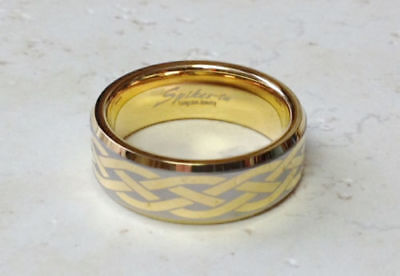 - Celtic Design Etched Gold Tungsten Carbide Wedding Ring Size 9,10,11,12,13 (f83)