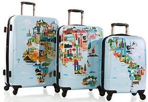 Heys America FVT World Map 3 Piece Spinner Luggage Set