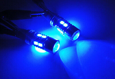 2x BLUE SAMSUNG 10 SMD LED 194 T10 168 for NISSAN Projector Parking Light Bulb