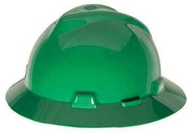 Msa 475370 V-gard Hard Hat Full Brim Green Fastrac Ratchet Suspension