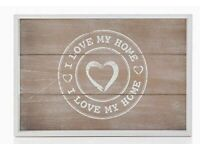 White Wooden I Love My Home Design Rustic Rectangular Serving Tray.