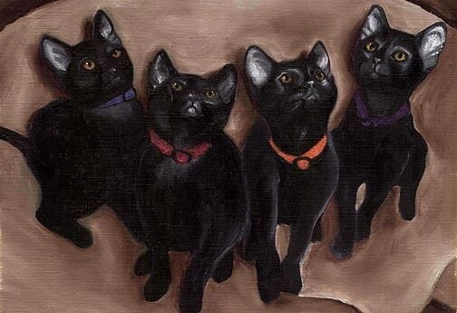 BIG 13x19 BLACK KITTENS DSH Cat Art Signed PRINT of Original Painting by VERN