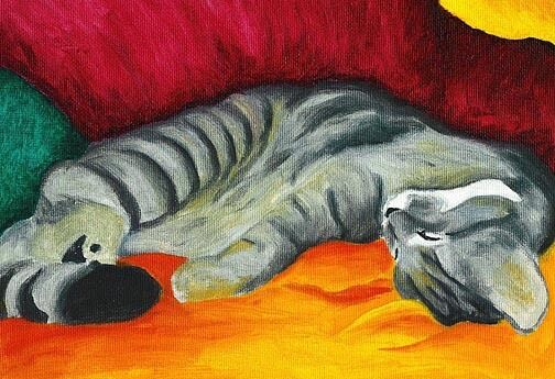 13x19 CAT NAP Gray Tabby Kitten Big Signed Art PRINT of Original Painting VERN