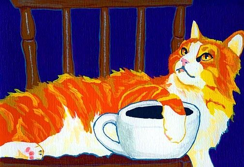 13x19 CAT & COFFEE Orange Tabby Longhair Signed Art PRINT of Painting by VERN