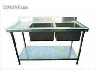 Commercial Kitchen Stainless Steel Sink 1.5m Double Bowl Sink left Hand Drain